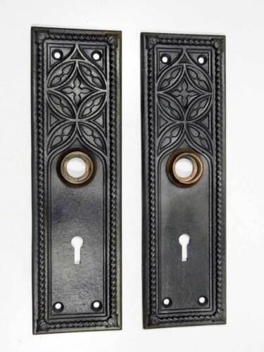 Pair of Antique Cast Iron Ornate Door Lock Escutcheon Plates Circa 1890