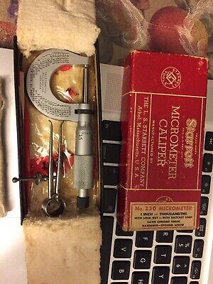 Starrett Micrometer Caliper With Original Box Vintage No.230 With Extra