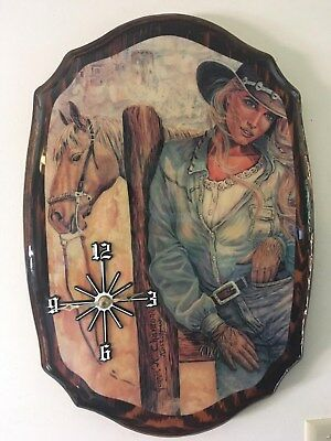 country western home decor cowgirl battery operated wall clock (Country Western Decorations)