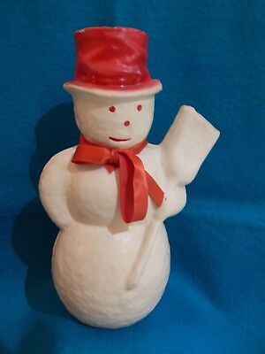 """☆ Antique 9.5"""" Paper Mache WHITE SHOWMAN w/Red Hat ~ Candy Container ☆"""