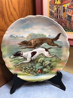 Vintage B T Germany Decorative Plate Running Whippet Dogs 9.25
