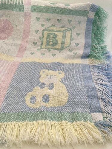 Vtg Pastel Pink/Blue/White Teddy Bear Tapestry Fringe Woven Baby Blanket Throw