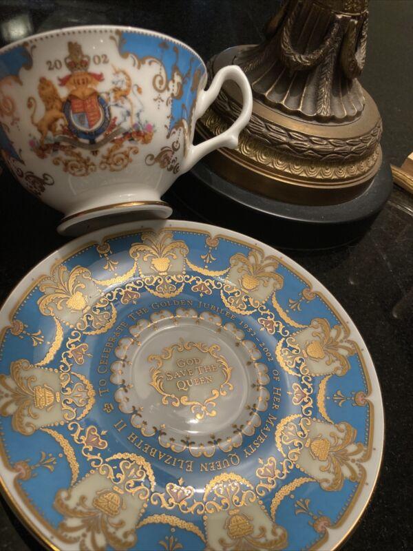 Golden Jubilee Celebration 2002 Gold Gilded Queen Elizabeth cup and saucer Set