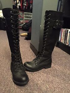 Tall Black Combat Boots, 60$, NEVER WORN,
