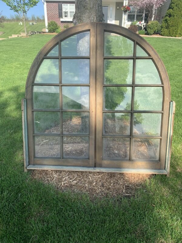 """Vtg Arched Domed Top Window Panes Large. 48"""""""