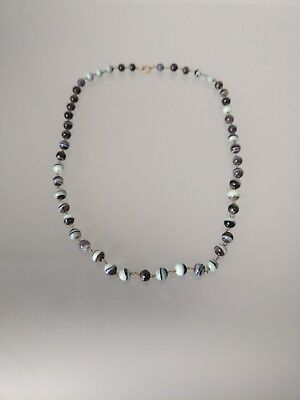 Damen Halskette Mit Kleine Kugeln Schwarz Blau Kleine Planeten Motiv