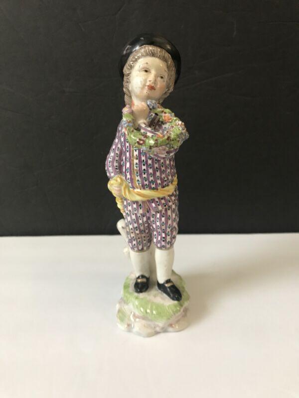 Antique 19thC Hoscht Damm Earthenware Figurine German Boy Holding Laurel Wreath