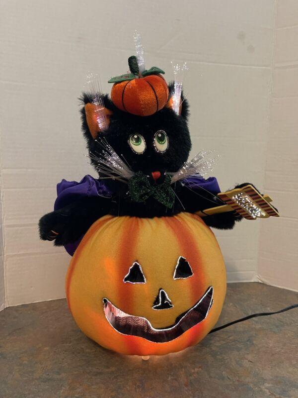 Fiber Optic Black Cat in Pumpkin Jack-O-Lantern Halloween Decor works