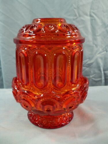 L.E. Smith  Moon & Stars Red Amberina Glass Courting Fairy Lamp