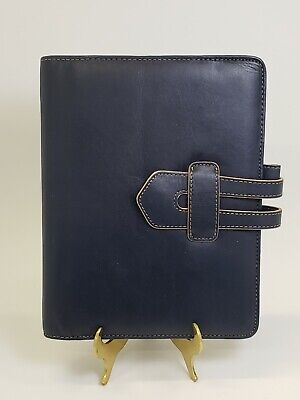 Compact Franklin Quest Covey Navy Blue Leather 1 Ring Planner Binder 9 X 7 Inch