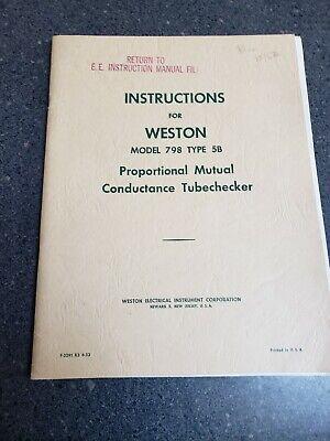 Weston 798 Type 5b Proportional Mutual Conductance Tube Tester Checker Manual
