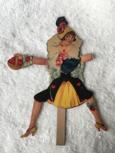 Vintage UNIQUE Antique Germany Mechanical Dancing Girl Valentine Card
