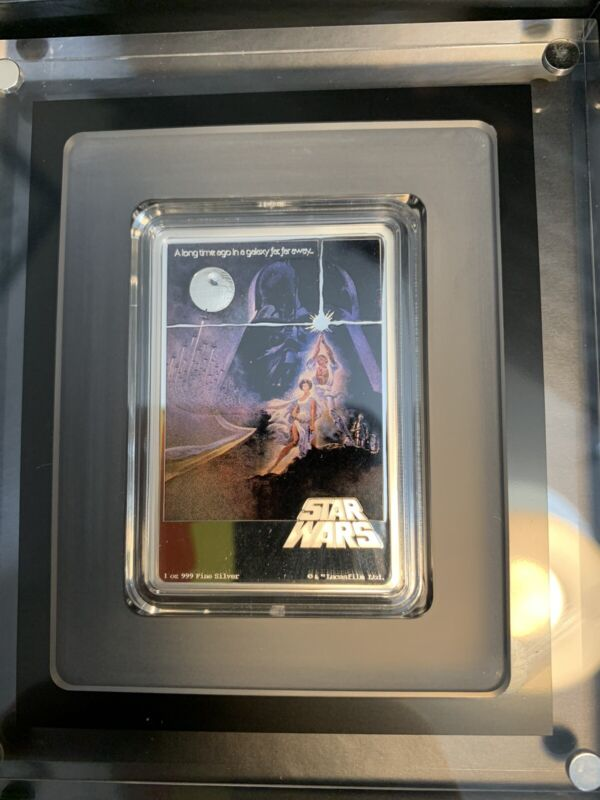 2020 Niue Star Wars A New Hope 1oz Silver Poster Bar Low COA # 1977 Mintage
