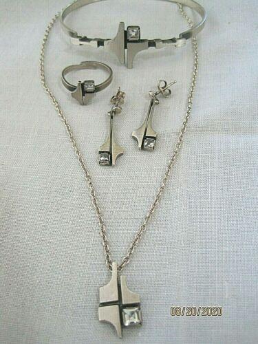 Finnish 925/ rock crystal modernist set necklace earrings, bracelet and ring KJP