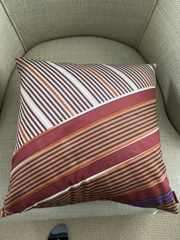 MISSONI HOME Stripe COVER & FEATHER/DOWN INSERT 16X16 COTTON Deco PILLOW NWT