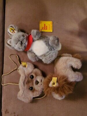 Great vintage rare steiff toy lot figure leo rabbit lion teddy bear purse bunny