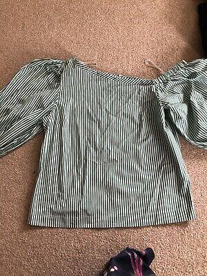 NWOT Isa Arfen At Next Green Stripped Shirt Unusual Size 10