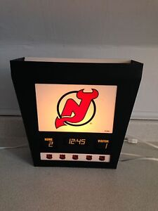 "Vintage New Jersey Devils Hanging Backlit Sign, 12"" x 12"" x 5"""