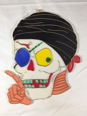 Vintage Halloween Sun Catcher Pirate Skull Window Retro Holiday Decoration