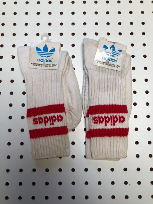 Vintage Adidas Socks Tube Socks Striped Adidas Trefoil Made In USA YOUTH  9-11