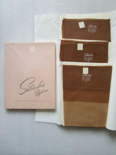 VTG Satinskin TROPIC DAWN Nylon Stockings 3 Pairs Dress Sheer Seamless 10M NOS