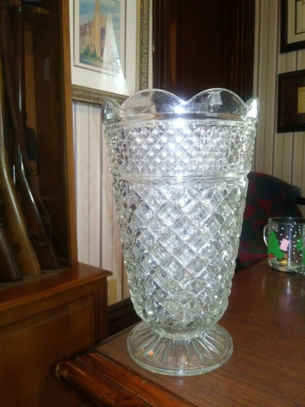 VINTAGE ANCHOR HOCKING WEXFORD LARGE GLASS VASE FREE SHIPPING