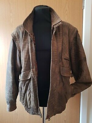 """Classic 1980s brown leather bomber jacket, distressed look XL / 42"""", fly front"""