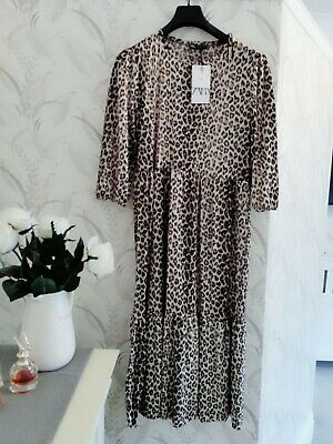 Zara Leopard Print Midi dress Size L BNWT