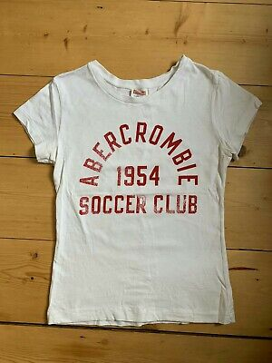 Abercrombie & Fitch Ladies Soccer Tee Shirt Top White Vintage Retro Red S 8 10