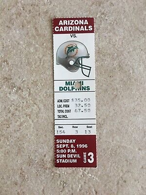 1996 NFL Miami Dolphins @ Arizona Cardinals Ticket Stub Dan Marino 2TDs