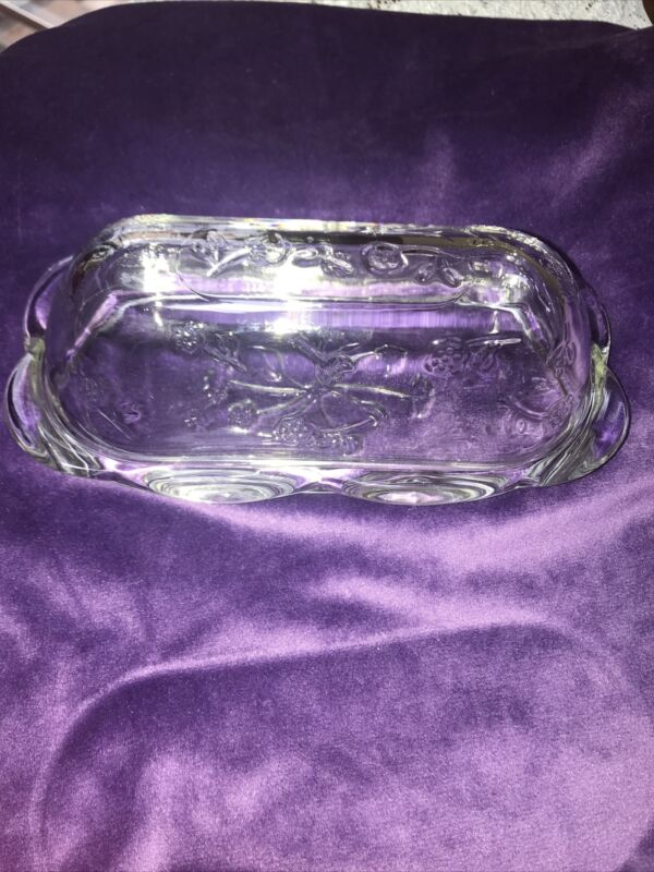 RARE Retired Quarter Pound Covered Butter Savannah Clear ANCHOR HOCKING
