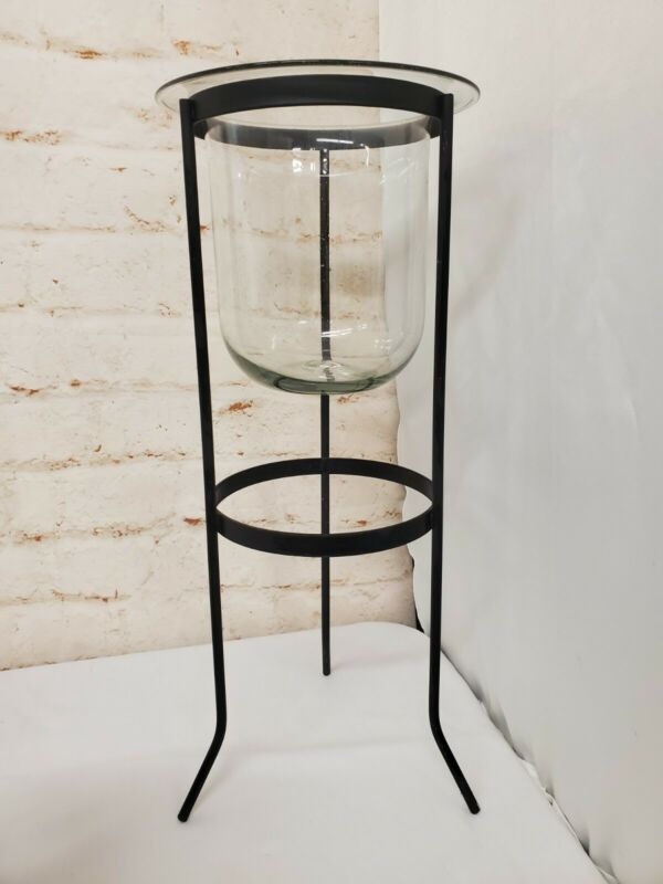 PartyLite Seville Candle Holder Wrought Iron Stand 3 Wick Hurricane Glass