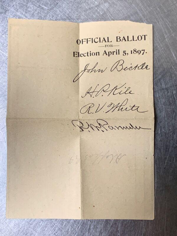 1800s ephemera Election Ballot 1897 Ohio