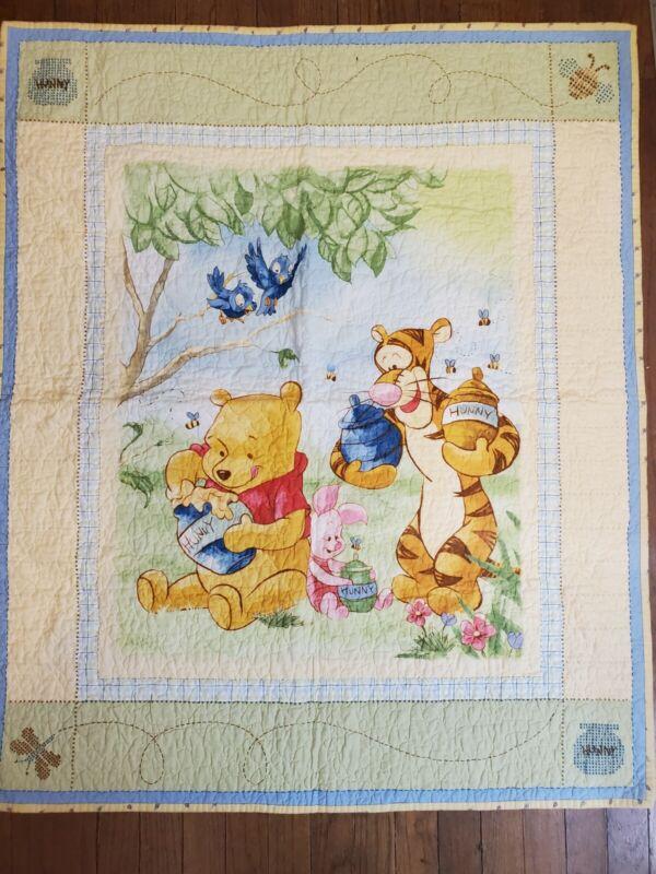 "Disney Baby Winnie The Pooh Baby Quilt Tigger Piglet Honey Pot 38""x32"""