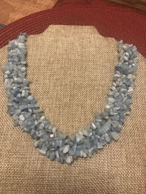 """ESTATE RAW CHIP AQUAMARINE STONE NECKLACE 19-22"""" STERLING SILVER 925"""