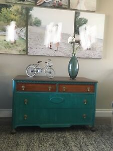 Antique Bell dresser refinished turquoise/copper