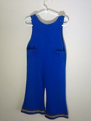 Girls Romper 4T Blue vintage 70s style - 70s Style Costumes