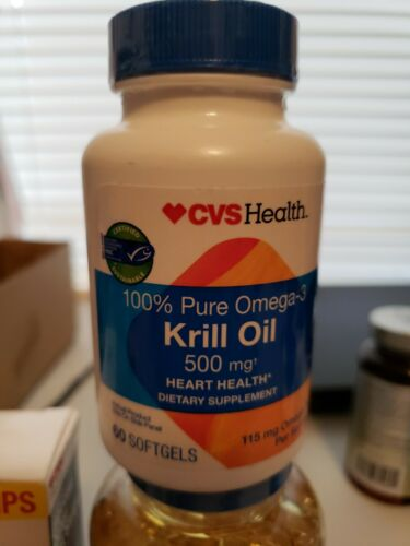 CVS 100% Pure Omega-3 Krill Oil 500 Mg 60 Softgels Heart Hea