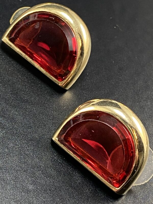 HOBE Signed Vintage Post Earrings Large Red Crystal Rhinestones Gold Tone