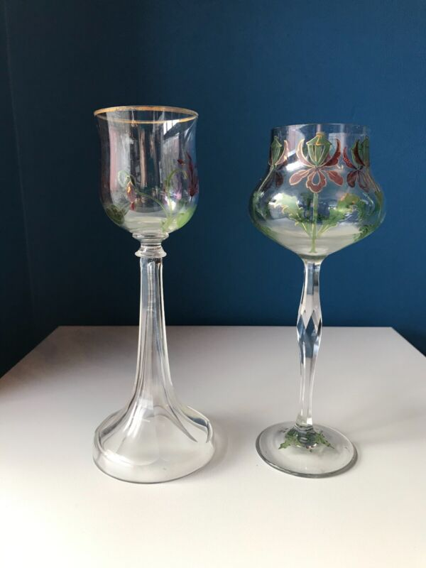 Late 19th c. hand painted Theresienthal glasses - a pair