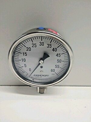 New Old Stock Ashcroft 0-60 Psi 12 Npt Ss Pressure Gauge 238a460-01