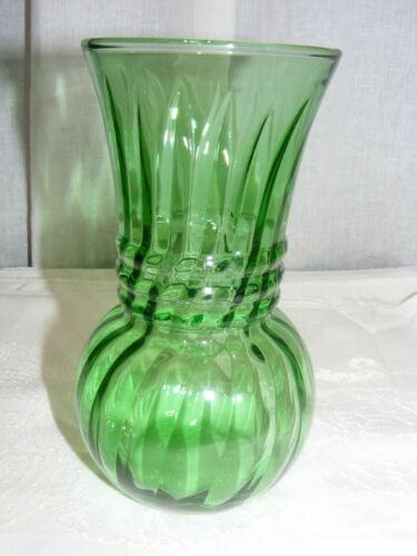 """Vintage Green Glass Small 6"""" Vase Swirl Design Flared Mouth"""