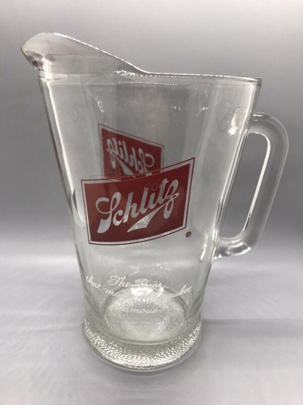Vintage Schlitz Beer Heavy Glass Large Pitcher