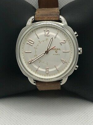 Fossil Q FTW1200 Women Brown Leather Analog Silver Dial Hybrid Smart Watch HK404
