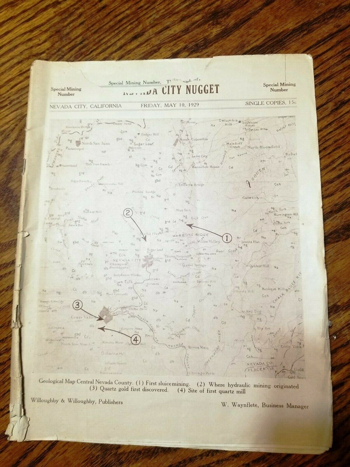 Nevada City Northern California Rare 1929   OLD GOLD MINE MAP LOCATIONS