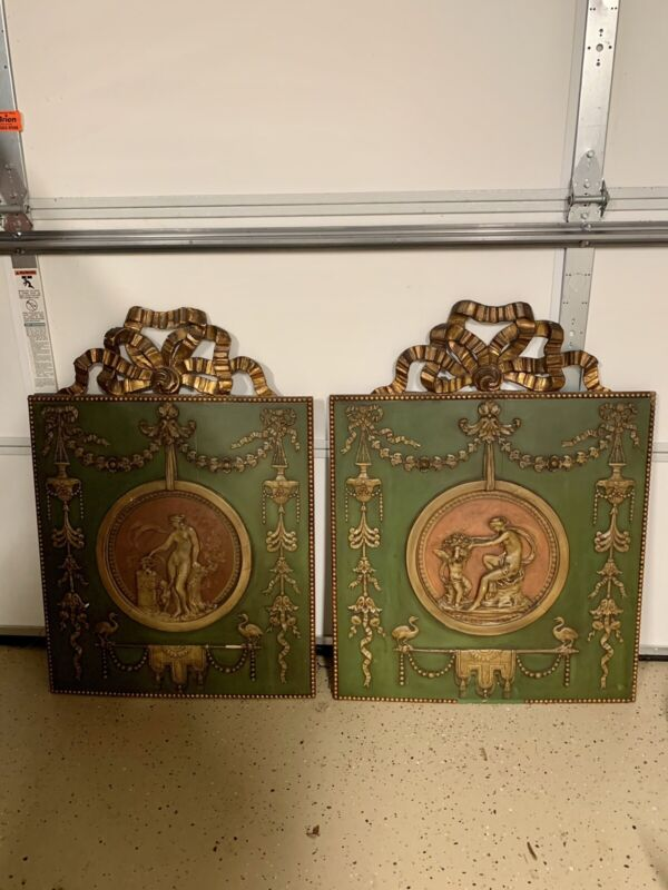 Pair of Antique Neoclassical Plaque Ornate Wall Hangings