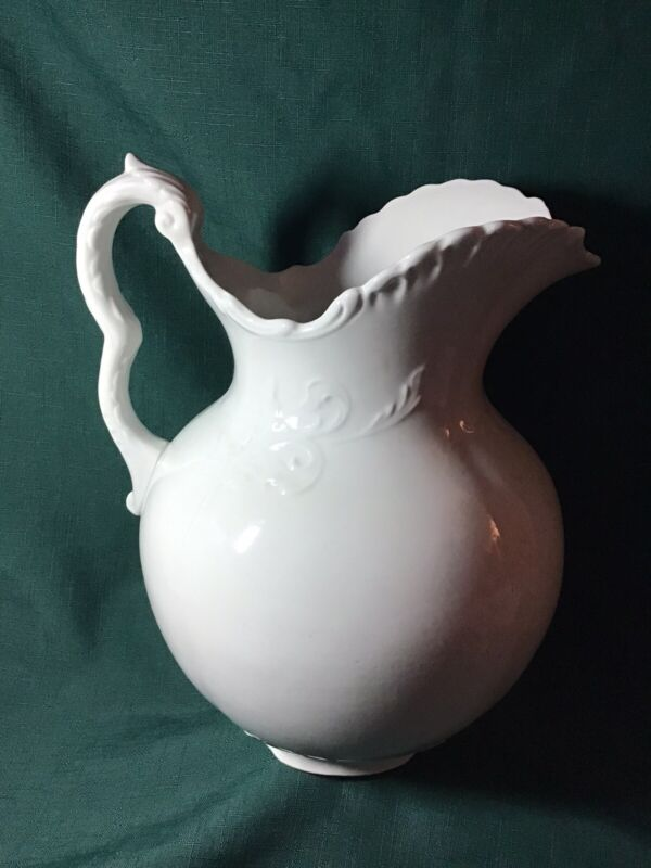 Pretty LARGE 19th-Century English White Ironstone PITCHER