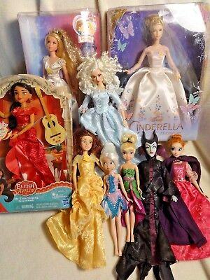 Disney Doll Lot Rapunzel wedding Belle Cinderella Elena singing Maleficent NIB