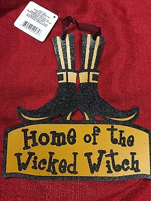 Halloween Decor Hanging Door Witch Boots Sign Home Of Wicked Witch 10x10 Inch