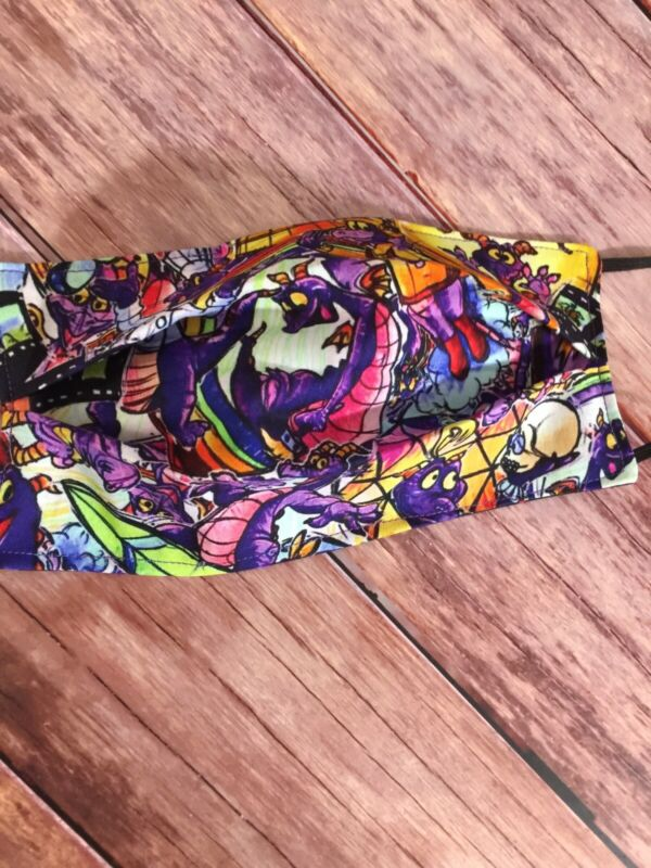 Adult Figment Dragon Epcot Disney face mask Cover Filter Pocket Shopping